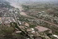 An Ariel view of the flooded areas of Amreli Distt