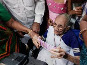 Narendra Modi's mother, Heeraben Modi in the bank