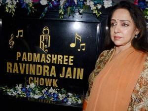 Hema Malini during the inauguration of Ravindra Jain Chowk in Mumbai