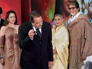 Dharmendra, Hema Malini, Amitabh Bachchan and Jaya Bachchan during the launch of  Hema Malini's music album Dream Girl 12