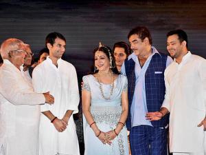 Hema Malini with Shatrughan Sinha and RJD Chief
