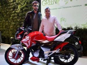 Ranbir Kapoor at the launch of Hero's new motorcycle