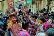 Foreign tourists take part in Holi celebrations