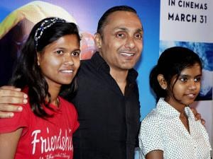 Actor-director Rahul Bose with mountaineer Poorna Malavath and Aditi Inamdar during the screening of film 'Poorna' in Mumbai
