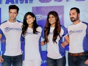 Neerja Birla, Founder and Chairperson, Mpower along with her daughter Ananya Birla and Bollywood actor Hrithik Roshan during the launch of Mpower Everyday Heroes campaign