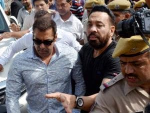 Bollywood actor Salman Khan arrives at a court in Jodhpur on Thursday to record his statement in 1998