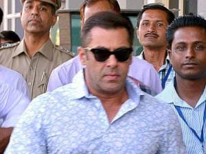 Bollywood actor Salman Khan at a court in Jodhpur on Thursday to record his statement in 1998 Arms Act case