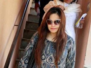 Bollywood actor Salman Khan's sister Alvira Khan arrives at a court in Jodhpur on Thursday where the actor recorded his statement in 1998 Arms Act case