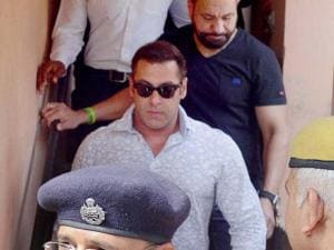 Salman Khan at a court in Jodhpur on Thursday to record his statement in 1998 Arms Act case