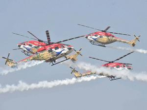 IAF's Sarang helicopters performing acrobats