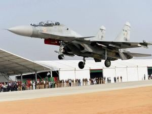 IAF's fighter jet touches down  during the grand opening of Agra-Lucknow expressway