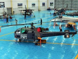 Aircrafts and Choppers parked at the Aircraft and Systems Testing Establishment (ASTE) during a media preview