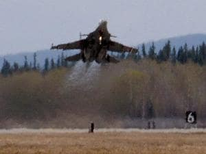 An Indian Air Force Jaguar takes off from Eielson Air Force Base Alaska, USA during Ex Red Flag 16-1