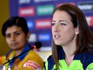 Srilanka Woman Cricket team captain Shashikala Siriwardene(L) looks on as Ireland captain Isobel Joyce speaks during a press conference in Bengaluru