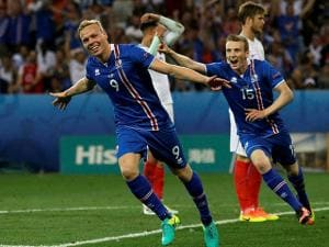 Iceland's Kolbeinn Sigthorsson celebrates after scoring his side's second goal during the Euro 2016