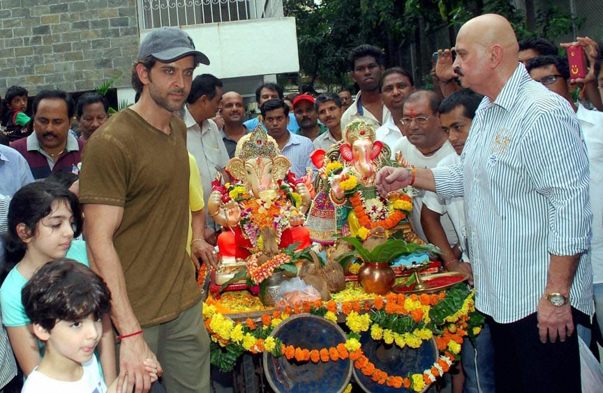 Bollywood, actor Hrithik Roshan, father, Rakesh Roshan,  others, participates, procession, immersion, idol, elephant-headed, Hindu, god, Lord Ganesha, Mumbai