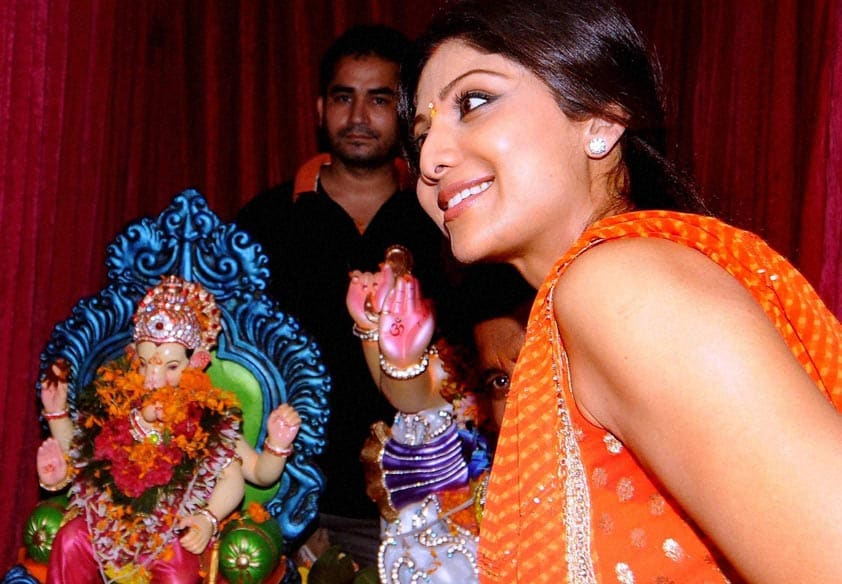 Bollywood actor, Shilpa Shetty, participates, procession, immersion, an idol, elephant-headed Hindu god, Lord Ganesha, Mumbai