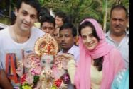 Bollywood actor Amisha Patel and family members participates in a procession