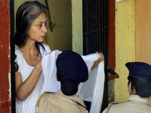 Indrani Mukherjee arrives to attend the post-death rituals of her father in Mulund