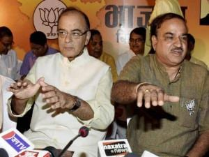 Union Finance Minister Arun Jaitley with BJP Bihar in-charge Ananth Kumar