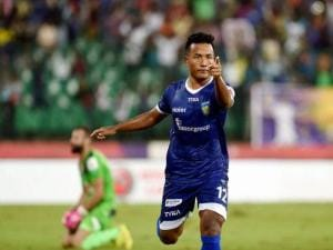 Player of Chennaiyin FC Jeje Lalpekhula celebrating after score a goal against Delhi Dynamos FC