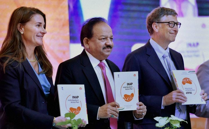 Union Health Minister, Harsh Vardhan, Bill Gates, Melinda Gates, Co-Chair & Trustee, BMGF, releasing, India New Born Action Plan, Guidelines, Newer, Initiatives, Newborn Health Care