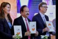 Union Health Minister Harsh Vardhan with Bill Gates and Melinda Gates, Co-Chair & Trustee BMGF
