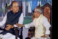 President Pranab Mukherjee with Defence and Finance Minister Arun Jaitley