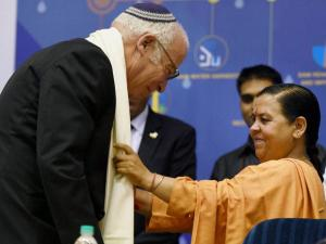 Union Minister of Water Resources, River Development and Ganga Rejuvenation, Uma Bharti with Israeli Minister of Agriculture and Rural Development, Uri Ariel_during inauguration of 4th India Water week