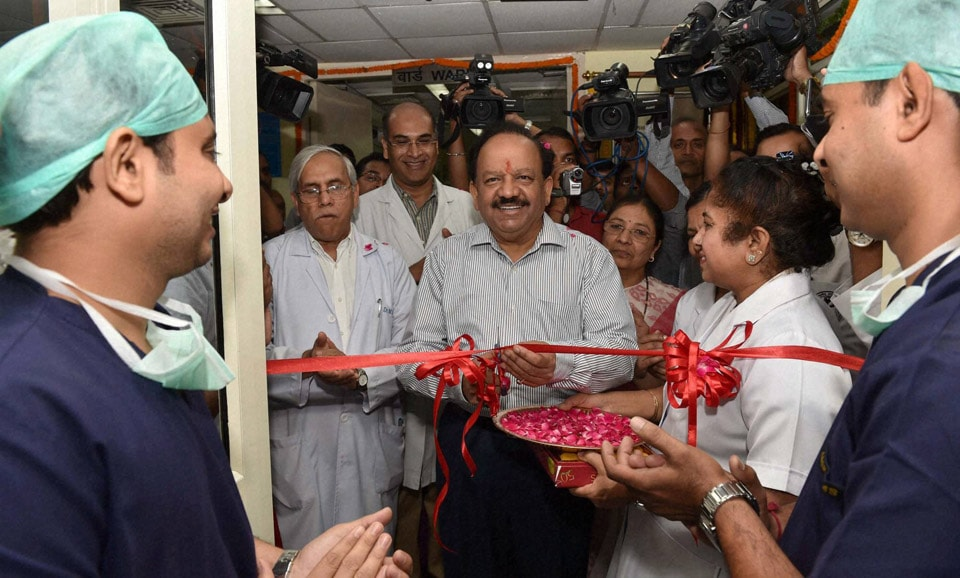 Union Minister for Health, Family Welfare, Harsh Vardhan, cutting, ribbon, inauguration, Dental, Centre, other, facilities, CDER, AIIMS,
