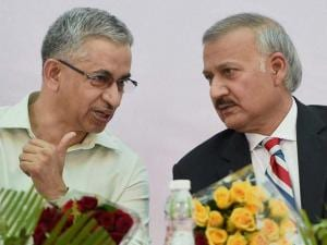 CBI Director Anil Sinha with Maharashtra DG Praveen Dixit during inauguration of the new office building of CBI in Mumbai
