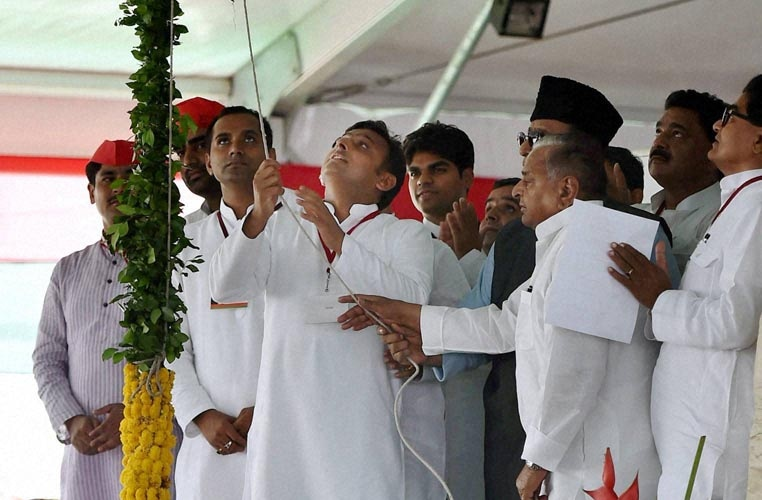 Uttar Pradesh, Chief Minister, Akhilesh Yadav, hoists, party flag, inauguration, Samajwadi Party's, Three-Day, Convention