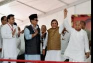 Samajvadi Party supremo Mulayam Singh Yadav with JD(U) President Sharad Yadav, Uttar Pradesh Chief Minister Akhilesh Yadav and Azam Khan