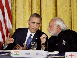 Prime Minister Narendra Modi at the dinner hosted by the President of United States of America (USA), Barack Obama, at the White House, in Washington D.C