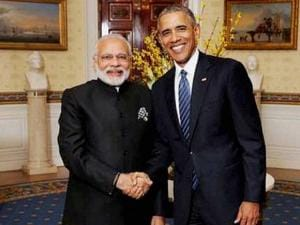 Prime Minister Narendra Modi with the President of United States of America (USA), Barack Obama during Nuclear Security Summit at the White House, in Washington