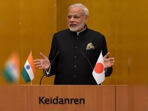 Prime Minister Narendra Modi during the welcome bussiness lunch organised in his honour, in Tokyo