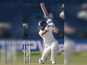 K L Rahul plays a shot during the first test match against Australia in Pune