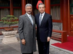 Foreign Secretary, S. Jaishankar with Chinese Foreign Minister Wang Yi before a meeting in Beijing