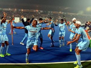 Indian Junior hockey players celebrate after their victory over Belgium in the final Junior World Cup Hockey 2016