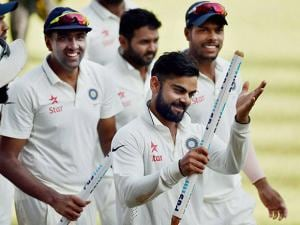 Virat Kohli and players celebrate their win on the fifth day of the final