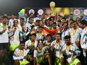 Indian team celebrate after won the 5th Asian School Hockey Championship