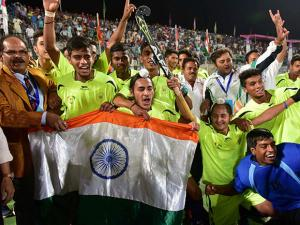 Indian team celebrate after won the 5th Asian School Hockey Championship at Aish Bagh Stadium in Bhopal