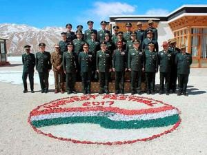 Indian and Chinese Army jawans at Ceremonial Border Personnel Meetings