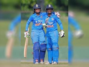 Mona Meshram congratulates Deepti Sharma as she completes fifty runs against South Africa