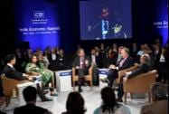 Mahindra Group Chairman Anand Mahindra, James Hogan, President and CEO of Etihad Airways and Pakistani journalist and Filmmaker Sharmeen Obaid-Chinoy