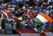 Indian fans cheer on their team during their Cricket World Cup Pool B match