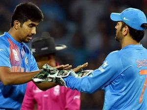 Indian bowler Jasprit Bumrah celebrates the wicket of New Zealand batsman Corey Anderson during the ICC T20 World Cup match
