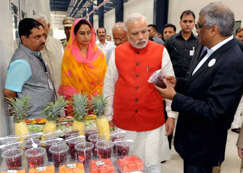 Prime Minister, Narendra Modi, taking, round, inaugurating, India Food Park