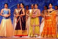 Models display creations during India International Jewellery Week 2015