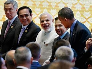 Prime Minister Narendra Modi, US President Barack Obama and other leaders during a group photo session